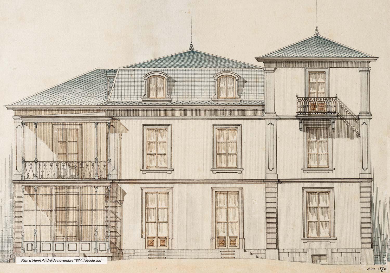 La Chaumière, façade sud, plan d'Henri André, 1874