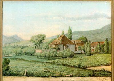 Une des première aquarelle du château de St-Christophe, aquarelle de Francis K. Marcel, vers 1870