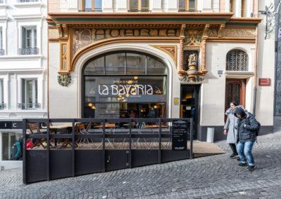 Entrée de la brasserie de la Bavaria à Lausanne